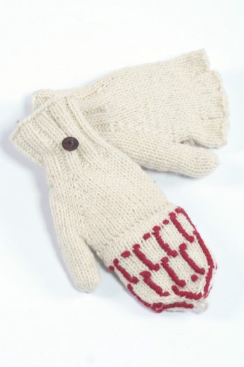 WHITE RED SQUARE COVER MITTENS
