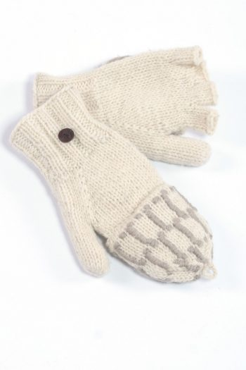 WHITE LIGHT GREY SQUARE COVER MITTENS