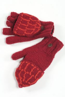 RED DARK ORANGE SQUARE COVER MITTENS