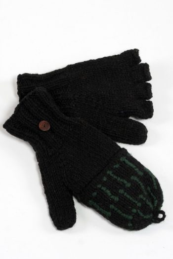 BLACK GREEN SQUARE COVER MITTENS
