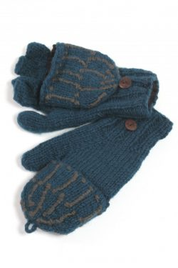 PETROL DARK GREY SQUARE COVER MITTENS