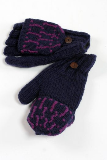 BLUE PURPLE SQUARE COVER MITTENS