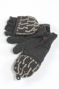 DARK GREY LIGHT GREY SQUARE COVER MITTENS