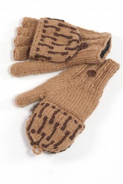 COFFEE BROWN SQUARE COVER MITTENS