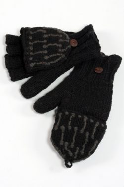 BLACK DARK GREY SQUARE COVER MITTENS
