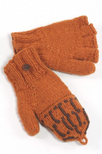TAN BROWN SQUARE COVER MITTENS