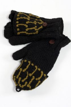 BLACK KHAKI SQUARE COVER MITTENS