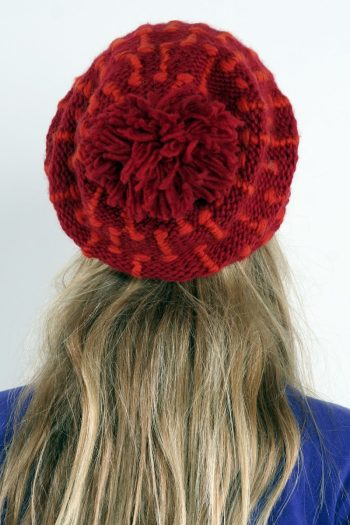RED DARK ORANGE SQUARE FLOP POMPOM