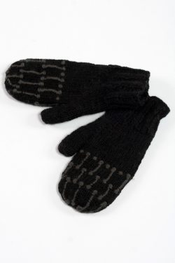 BLACK DARK GREY SQUARE MITTENS