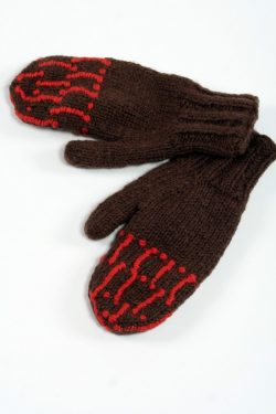 BROWN ORANGE SQUARE MITTENS