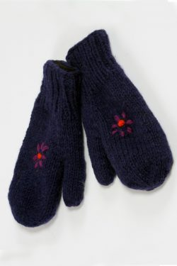BLUE PURPLE FLOWER MITTENS