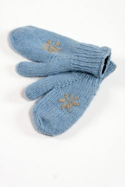 LIGHT BLUE GREY FLOWER MITTENS