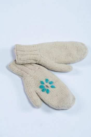 WHITE TURQUOISE FLOWER MITTENS
