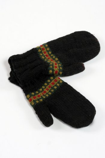 BLACK GREEN STEP MITTENS