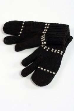 BLACK WHITE 3 FINGER GLOVES