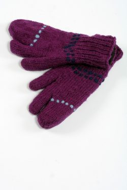 PURPLE BLUE 3 FINGER GLOVES