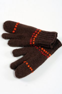BROWN ORANGE 3 FINGER GLOVES