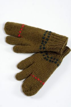 KHAKI ORANGE 3 FINGER GLOVES