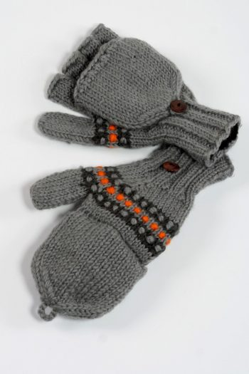 MID GREY ORANGE STEP COVER MITTENS